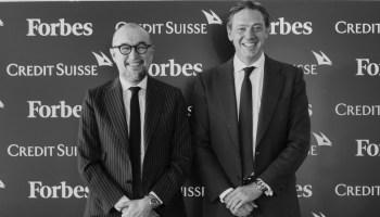 Andrés Rodríguez, presidente de SpainMedia y editor de Forbes España, e Iñigo Martos, director general para Iberia de Credit Suisse.