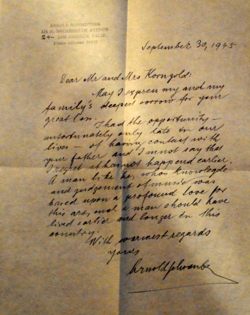 Schoenberg's letter of condolence to Erich Korngold on the death of Julius
