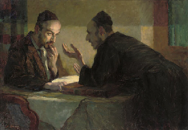 Studying the Talmud by lamplight by Stanislaus Binder