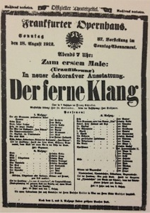 Playbill for the premiere of 'Der ferne Klang'