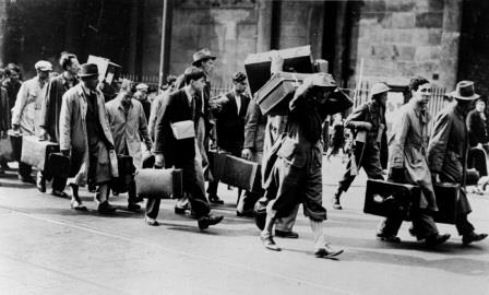 Germans and Austrian refugees being sent to internment camps in England 1940