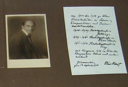 Karl Horwitz's page in book presented to Schoenberg by his students for his 50th birthday - Horwitz died the following year