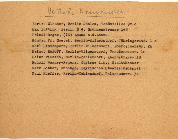 List of German Composers with Communist sympathies compiled by Johannes Becher for Hanns Eisler