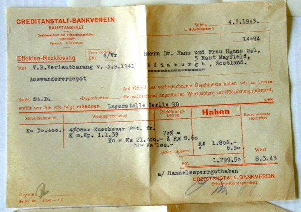 Bank Statement sent to Hans Gál from his bank in Vienna