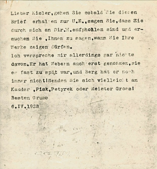 Schönberg's letter of recommendation to UE for Hanns Eisler