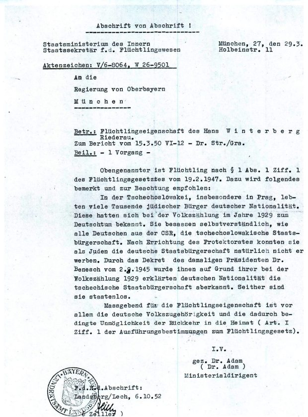 Official documentation confirming the Situation of Czech German Jews, and their status as 'stateless' Note the date: 1950 - refugees were still an issue five years after the war