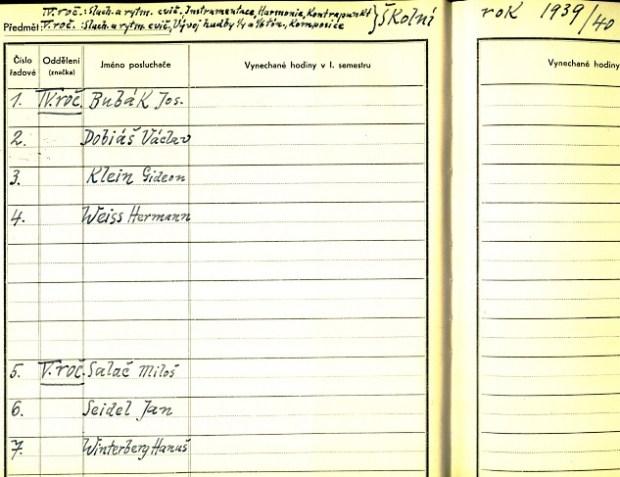 Student Register - Gideon Klein is no. 3; Winterberg no. 7