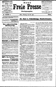 Austria's leading newspaper, Die Neue Freie Presse announces the appointment of Kurt von Schuschnigg along with the names of his cabinet. July 30. 1934
