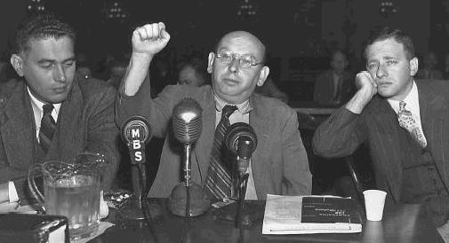 Hanns Eisler in defiant mood at the House of Un-American Activities 1947