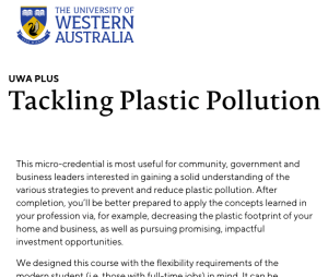 UWA Tackling Plastic Pollution