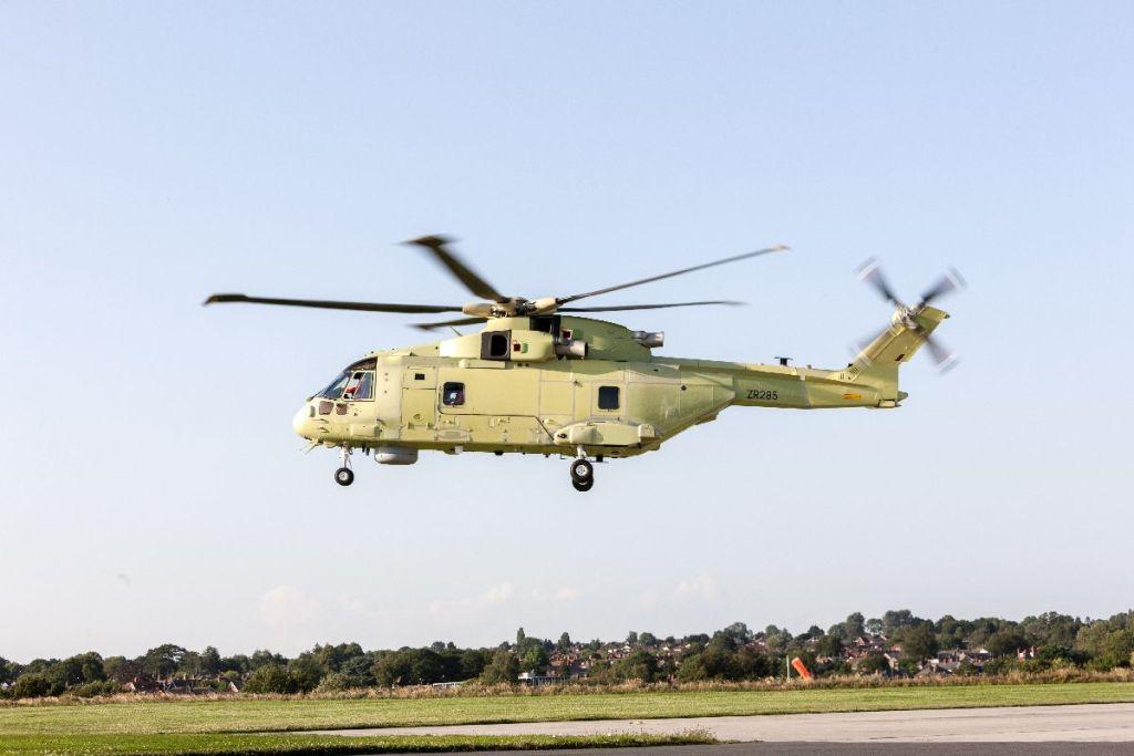 Voa o 1º helicóptero AW101 da Marinha Polonesa (Foto: Leonardo).