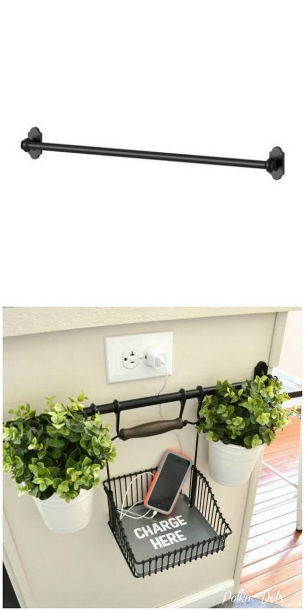 DIY Charging Station Using Ikea's Fintorp Rail: Attach some hooks to this simple fintorp rail from IKEA, and keep eletronics from cluttering your counter. You can also add some plants for decoration.