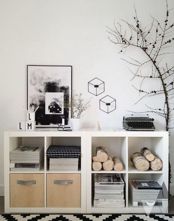 Pantry Storage Unites: Transform the plain white Kallax shelving units into storage units with natural elements. It looks so gorgeous and stylish for home decor!