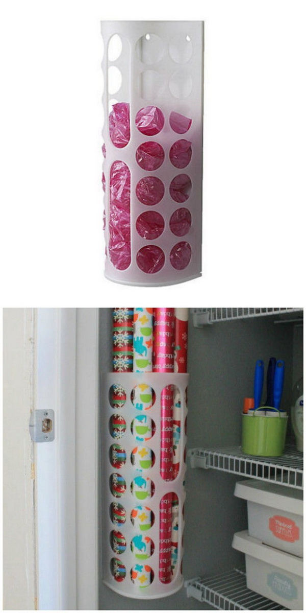 Wrapping Paper Container: Repurposing the plastic bag dispensier into a container for your gift wrapping paper.