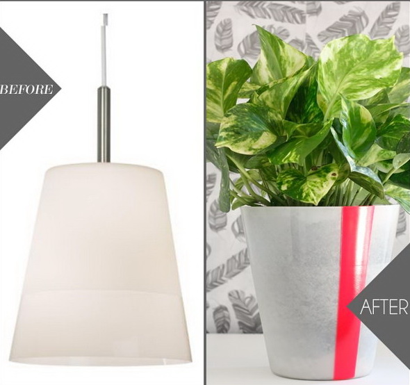 IKEA Hack Pendant Planter: Make the simple pendant light cover into this creative planter! Super easy and quick ot make!