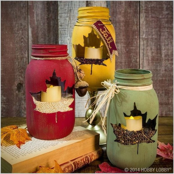 Maple Leaf Mason Jar Candle Holders: