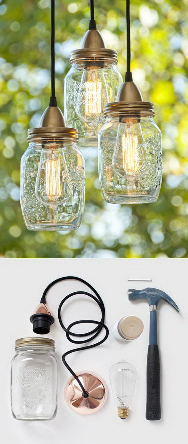 Mason Jar Hanging Lights. Group several mason jar lights over your table. It will add more charm to your space!