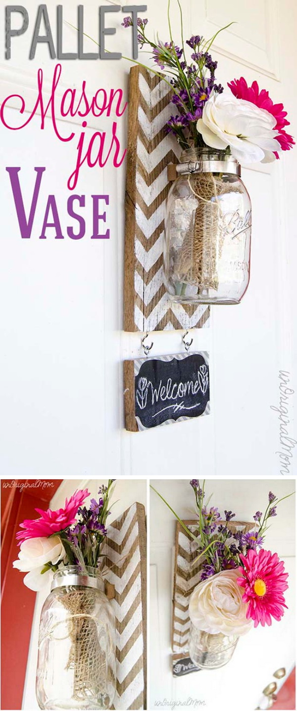 Chevron Pallet Mounted Hanging Mason Jar Vase: What a cheerful and fun wall decoration!