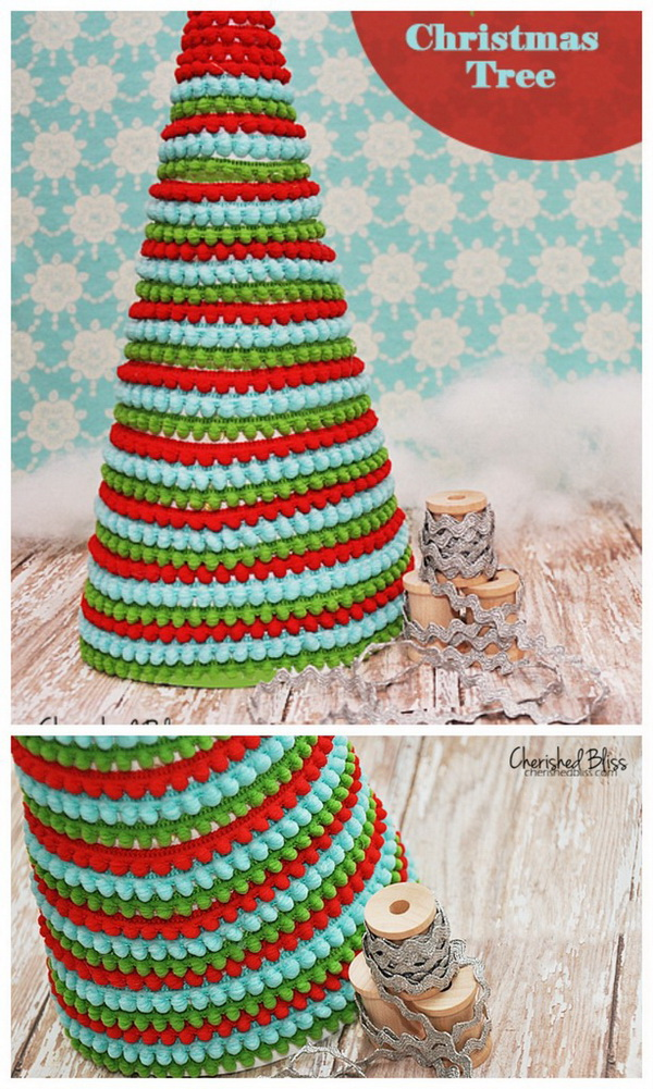 Pom Pom Ribbon Christmas Tree.