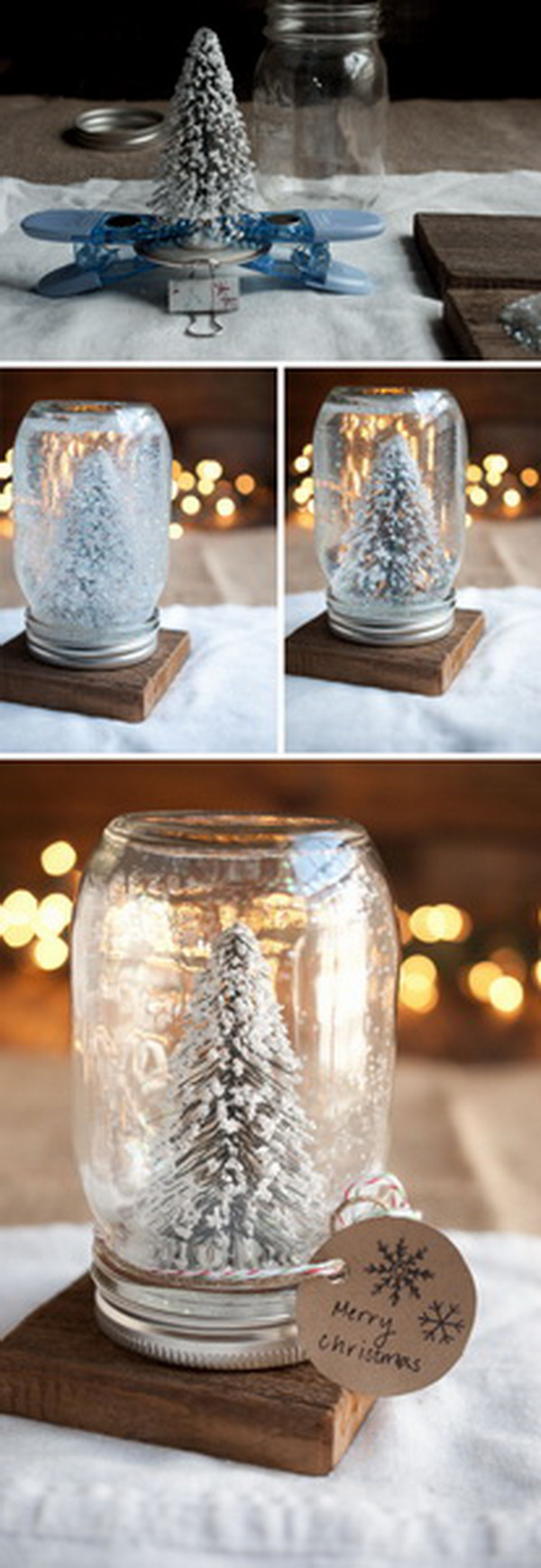 DIY Anthropologie Mason Jar Snow Globes: Get A Jar Fake Snow, Some Water,  Any Tree, Figurine, Ornament Or Pretty Items, You Can Make This Elegant  Snow ...