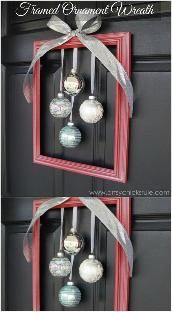 DIY Holiday Framed Ornament Wreath. Transfer the old frame inot this awesome holiday wreath with some ornament balls in several steps! It is perfect for your front door to welcome guests to your home….
