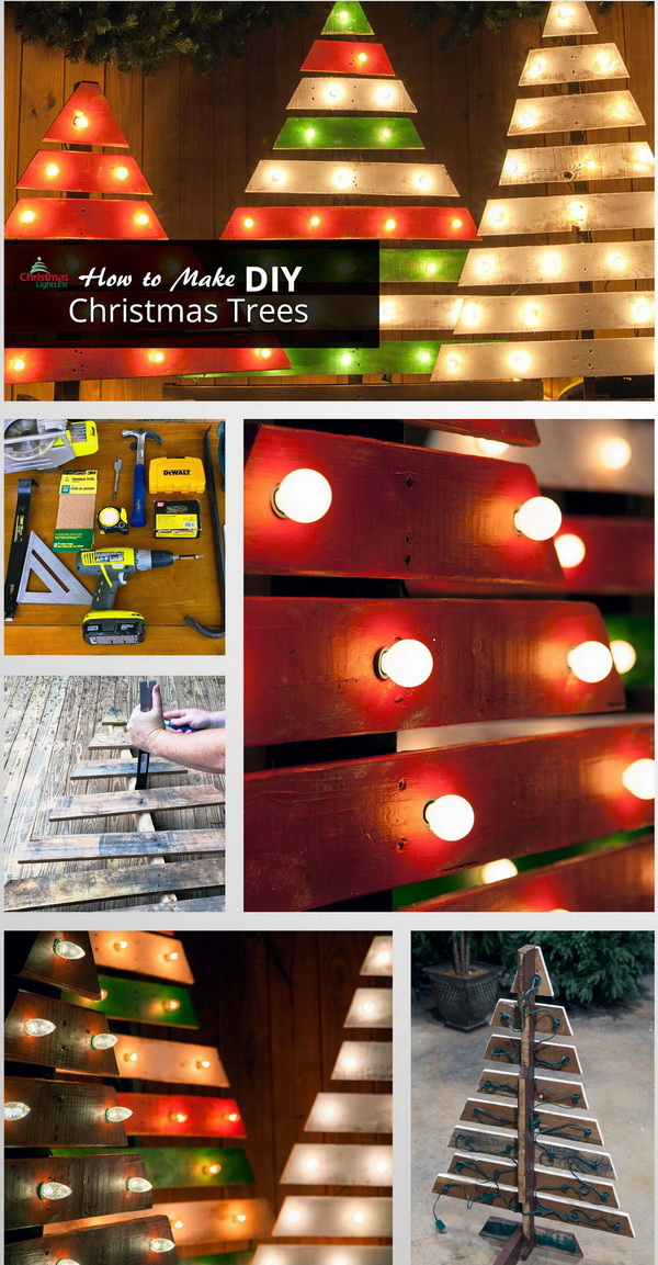 DIY Christmas Trees With Marquee Lights. Creating unique Christmas scenes for front porches, walkways, or yards with this DIY wooden Christmas trees with marquee lighting.