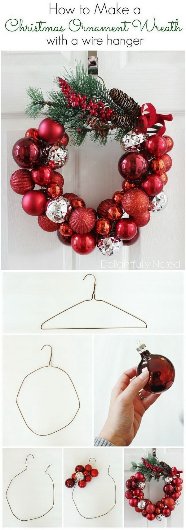 diy christmas ornament wreath - Homemade Christmas Decorations Ideas
