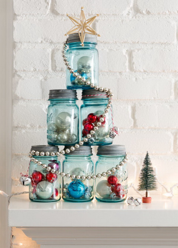 mason jar christmas tree fill six mason jars of the same size with ornaments - Diy Christmas Decorations Ideas