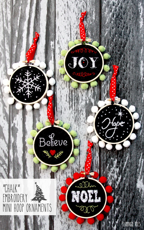 Chalk Embroidery Mini Hoop Ornaments: These Chalk Embroidery Mini Hoop Ornaments will be so quick and easy to make and would look so cute on your tree!