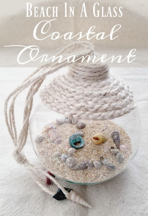 Beach In A Glass Coastal Ornament: A great way to show off shells collected during the summer with making this beach in a glass coastal ornaments!