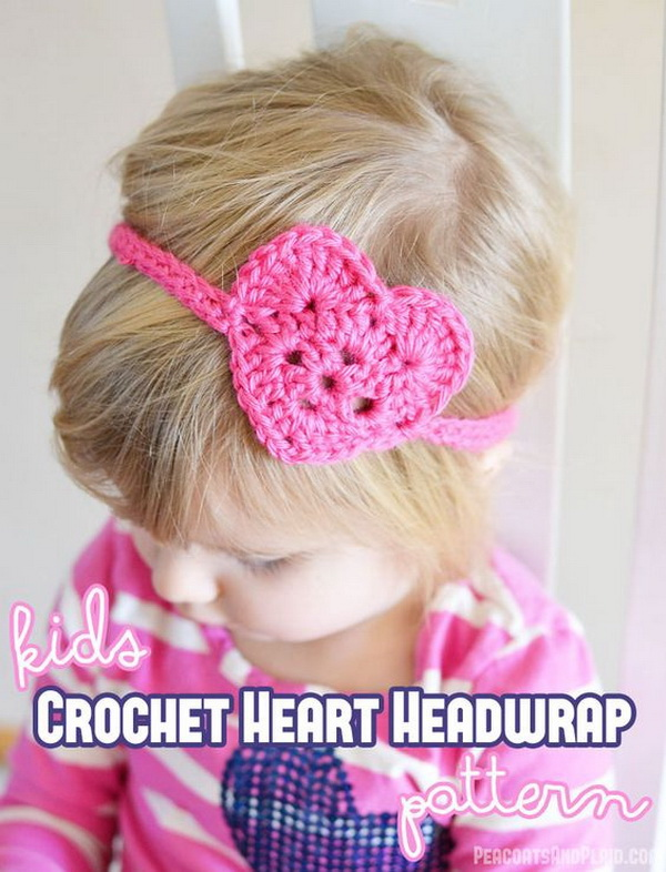 Kids Crochet Heart Headwrap.