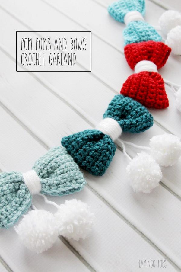 Pom Poms And Bows Crochet Garland.