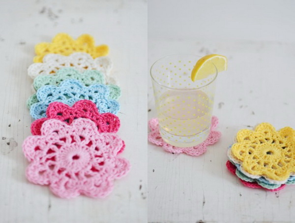 Crochet Flower Coasters.