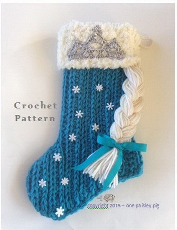 Frozen Inspired Crochet Christmas Stocking.