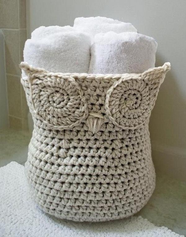 Crochet Owl Basket.