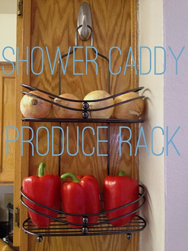 DIY Produce Rack at the End of a Cabinet: Hang a shower caddy at the end of a cabinet and use it to store some vegetables!