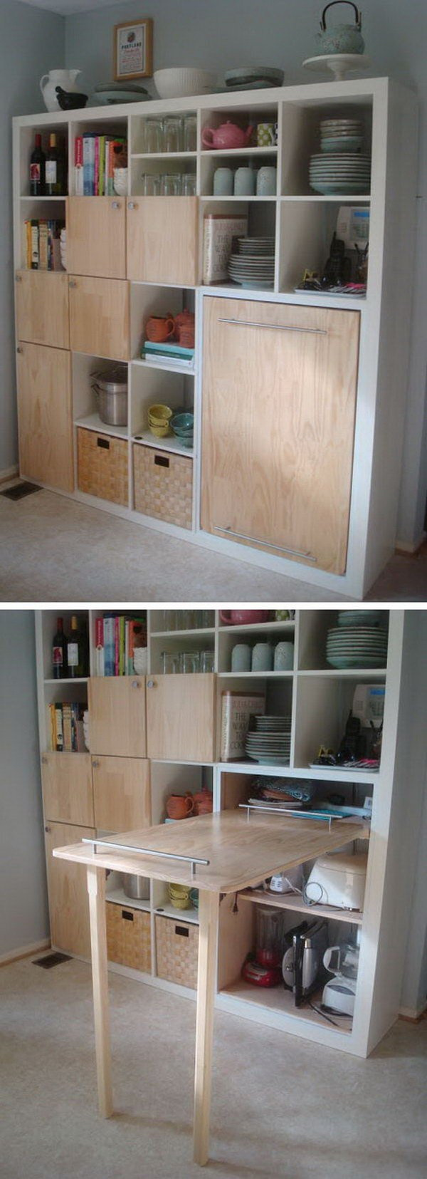 Pull-out Counter Top for Kitchen Storage: Create this pull-out counter top for more kitchen storage! Such a cheap and easy DIY project that looks so stylish in the kitchen!