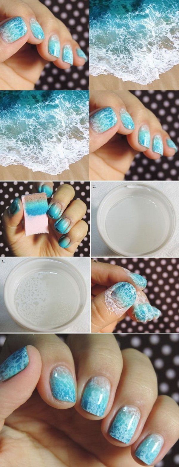 DIY Blue and White Ocean Saran Wrap Manicure.