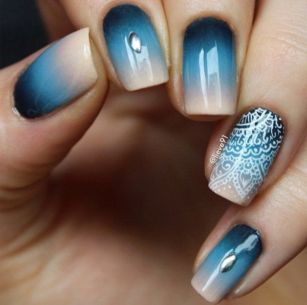 Blue Gradient Nail Art Design with a Little Bit of Lace.
