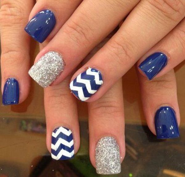 Blue, Silver and White Nail Design with Zig Zag Lines - 40 Blue Nail Art Ideas - For Creative Juice