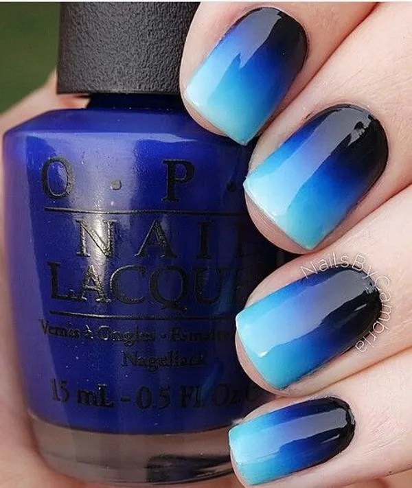 Royal Blue to Black Ombre Nails.