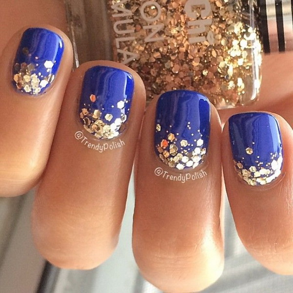 Sparkly Blue Nails with Gold Sequins.