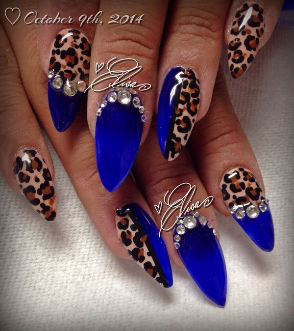 40 blue nail art ideas for creative juice blue leopard print rhinestone nail art prinsesfo Images