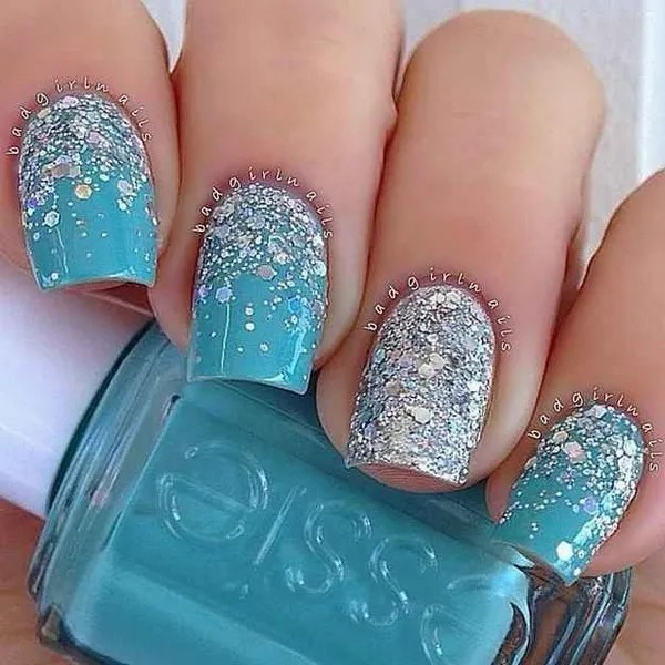 40 blue nail art ideas for creative juice icy blue and silver nail art prinsesfo Image collections