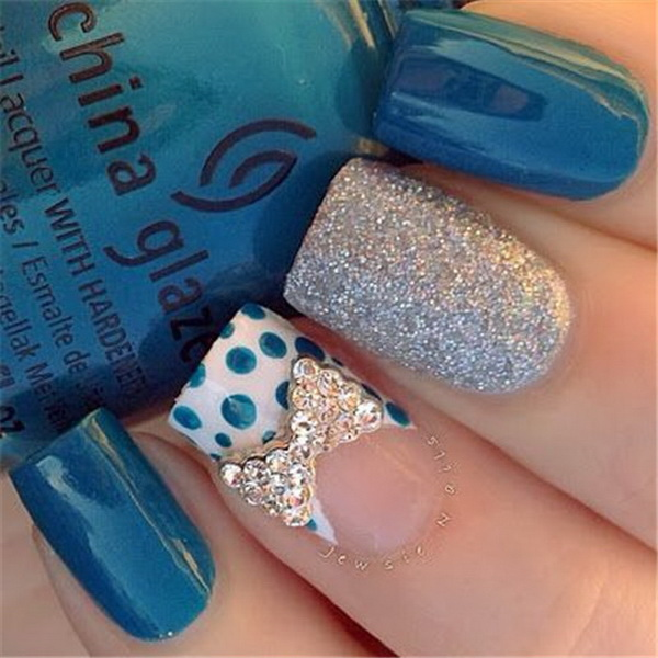 Polka Dots, Bow and Glitter Nail Design.