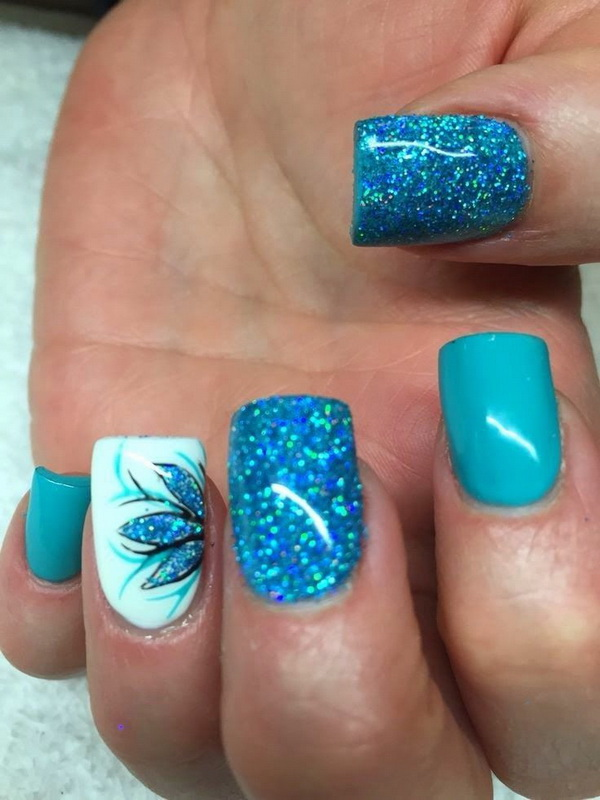 Glittery Blue Nails with Flowers for Detail - 40 Blue Nail Art Ideas - For Creative Juice