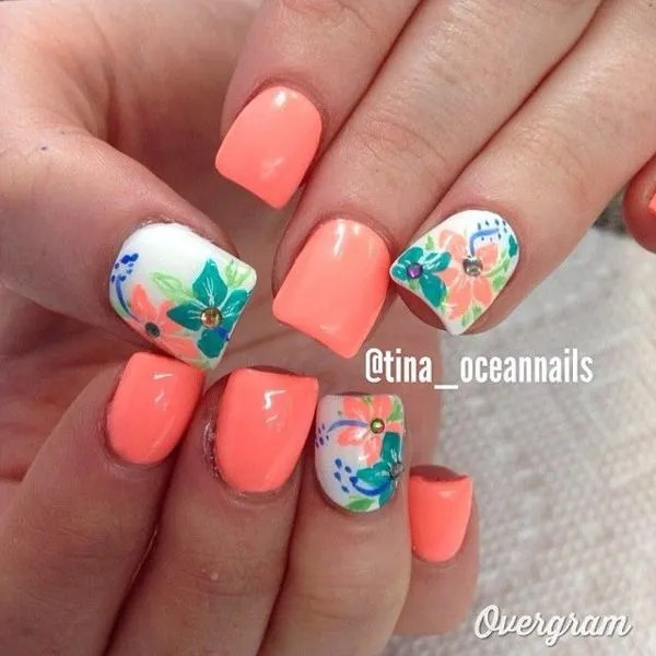 Matte Orange Background and Flower Nail Art Design.