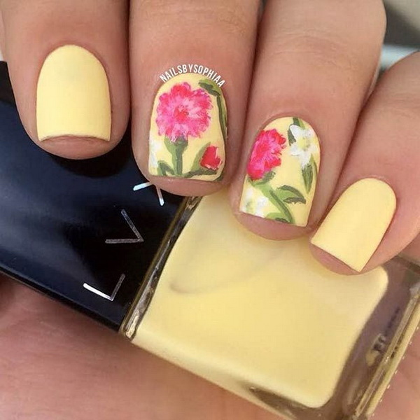 Matte Yellow Flower Nail Design.