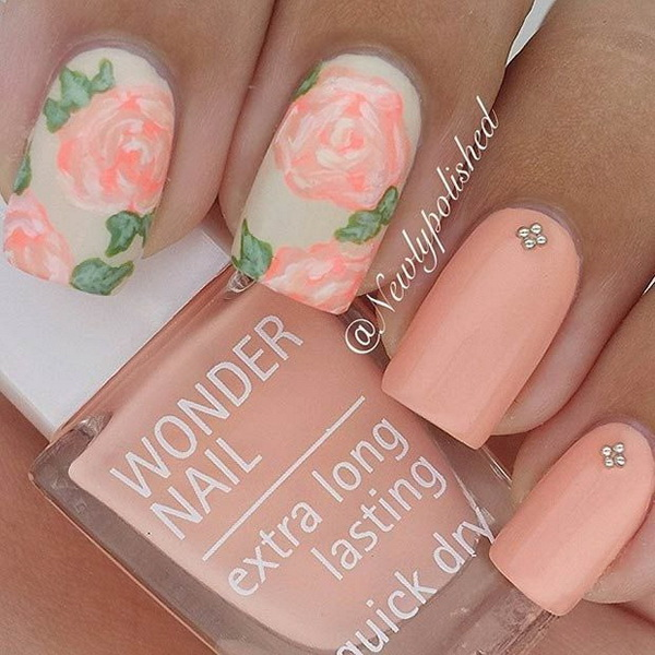 Peachy Matte Flower Nail Design.