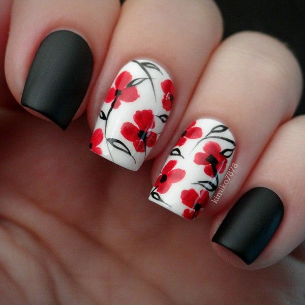 Black, White and Red Flower Nail Art Design.